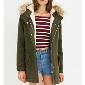 Forever 21 faux fur olive wool coat